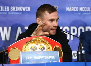 Carl Frampton pictured at Thursdays press conference in Manchester ahead of Saturday nights World Super-Bantamweight unification clash at the Manchester Arena. Press Eye - Belfast -  Northern Ireland - 25th February 2016 - Photo by William Cherry