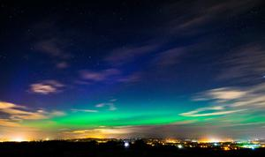 The Northern Lights, or Aurora Borealis, pictured from Mallusk, Northern Ireland by Beverley Cripps.