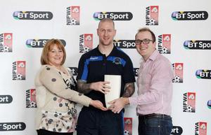 Institute striker Stephen O'Flynn being awarded BT Sport Championship Player of the Month