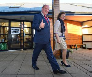 Jim Allister and wife Ruth one of the first to vote at Kells and Conner Primary School, Northern Ireland. Picture By: Arthur Allison.