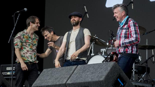 McBurney/BBC Biggest Weekend Belfast  Pictured Tim Wheeler (left), and Rick McMurray (second from right) from Ash, with Undertones Damian O'Neill (second from left) and Micky Bradley (right) after performing Teenage Kicks at the BBC Biggest Weekend on Titanic Slipway.  Date: Saturday 26th April 2018 Location: Titanic Slipway, Belfast Credit: Liam McBurney/RAZORPIX Copyright: Liam McBurney/RAZORPIX  Liam McBurney +44 7837 685767 +44 2890 660676 liammcburney@gmail.com