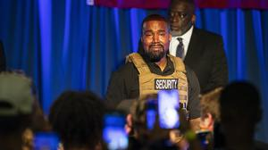 Kanye West makes his first presidential campaign appearance, (The Post And Courier via AP)