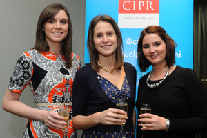 Seona McGrath, Harriet Turtle and Lauren McCoy at the Fitzwilliam Hotel in Belfast for the 2013 CIPR Christmas Social