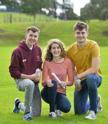 A Level results at Banbridge Academy in Co Down. Pictured are A2 students Matthew Young,Megan Ringland and Angus Corbett.  Picture Mark Marlow