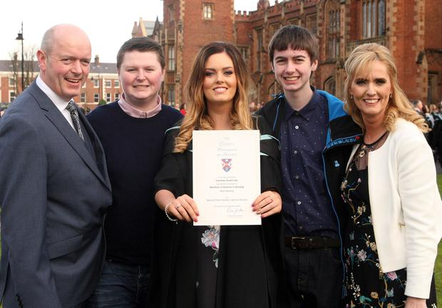 Graduations take place at Queens University in Belfast. Courtney Somerville and her family from Enniskillen