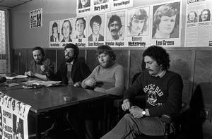 PACEMAKER PRESS INTL. BELFAST. Sinn Fein Conference at Lake Glenn following end of Hunger Strike. It was announced that it was hoped that all blanket and dirty protests would also end as the Government brought in new regulations. (L-R) Danny Morrison, Gerry Adams, Kieran Nugent, Joe Maguire. 19/12/80. 1088/80/bw
