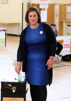 Sinn Fein's Mary Lou McDonald  casts her vote at St Joseph's National School in Cabra, Dublin for the referendum on gay marriage.