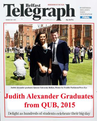 Mandatory Credit - Picture by Freddie Parkinson/Press Eye ? Tuesday 7th July 2015 Graduations Queen University Belfast. Judith Alexander from Markethill graduates in Queen University Belfast.