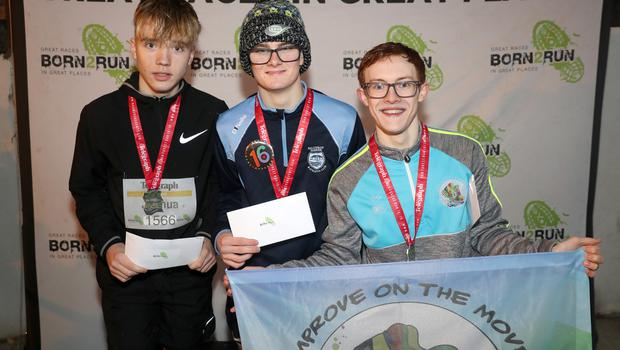 Press Eye - Belfast Telegraph - Run Forest Run Series - Loughgall Forest Park - 1st December 2018 Photograph by Declan Roughan  (L-R) Mens 5k, 2nd place Joshua Blair, 1st place(16th birthday today) Kyle Ross and 3rd place Darragh Glass