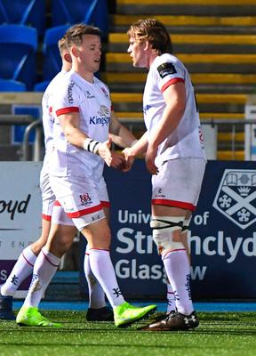 Well done: Ulster's Craig Gilroy celebrates scoring their second try with captain Jordi Murphy