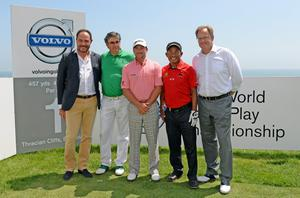 KAVARNA, BULGARIA - MAY 19:  Georg Tsvetansk (Owner of Thracian Cliffs Golf Resort) Krassimir Guergov (President, Bulgarian Golf Association), Graeme McDowell of Northern Ireland, Thongchai Jaidee of Thailand and Per Ericsson (President, Volvo Event Management) before the final of the Volvo World Match Play Championship at Thracian Cliffs Golf & Beach Resort on May 19, 2013 in Kavarna, Bulgaria.  (Photo by Ross Kinnaird/Getty Images)