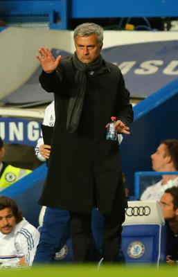 LONDON, ENGLAND - OCTOBER 27: Manager Jose Mourinho of Chelsea gestures during the Barclays Premier League match between Chelsea and Manchester City at Stamford Bridge on October 27, 2013 in London, England.  (Photo by Clive Rose/Getty Images)