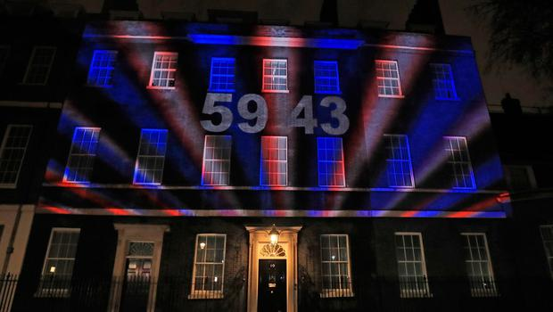 A count down clock is projected onto 10 Downing Street, when, at 11pm, the UK will leave the European Union after 47 years. PA Photo. Picture date: Friday January 31, 2020. See PA story POLITICS Brexit. Photo credit should read: Aaron Chown/PA Wire
