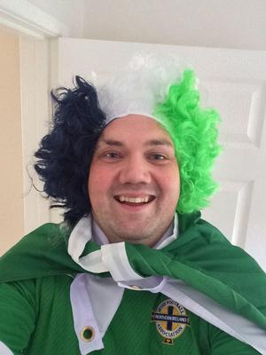 Stephen Warke getting in the mood for Northern Ireland v Greece
