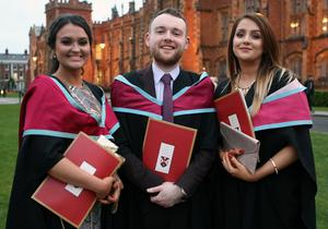 Mandatory Credit - Picture by Freddie Parkinson/Press Eye © Thursday 8th December 2016 Graduations take place at Queens University in Belfast. Kyra Archibald from Coleraine, Dermot Marke from Newry and Louise Lavery from Portadown