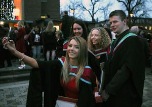 Mandatory Credit - Picture by Freddie Parkinson/Press Eye © Thursday 8th December 2016 Graduations take place at Queens University in Belfast. Amy Mckeown and her friends.