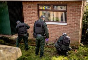 Police attend a bomb attack at the home of Martin Finucane in the Lenadoon area of west Belfast on February 20th 2020 (Photo by Kevin Scott for Belfast Telegraph)
