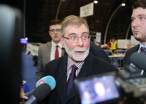 NI Assembly Election 2017 Count at Titanic Exhibition Centre in Belfast for Belfast East,  Belfast North, Belfast South and Belfast West constituencies. DUP candidate for north Belfast Nelson McCausland pictured after he is eliminated from the count and fails to be elected.  Photo by Jonathan Porter / Press Eye.