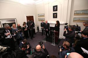Irish Foreign Minister Charlie Flanagan pictured along with Secretary of State Theresa Villiers as they talk to the media about the deal. Photo: Matt Mackey/Presseye