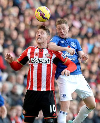 Everton's James McCarthy (right) and Sunderland's Connor Wickham battle for the ball in the air during the Barclays Premier League match at the Stadium of Light, Sunderland. Owen Humphreys/PA Wire.