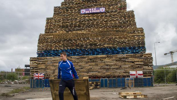 Belfast Telegraph  09-07-2017 Roden Street bonfire. The largest bonfire in Belfast.