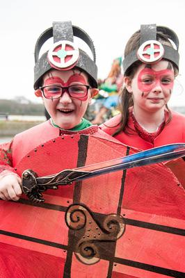 Cein Ball and Leah Edgar from St. Mary's Youth Club pictured during Derry City and Strabane District Council's the annual Spring Carnival on St. Patrick's Day in Derry-Londonderry. Picture Martin McKeown. Inpresspics.com. 17.03.17