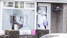 Police remain at the scene of an overnight shooting in Coleraine, a woman is in a critical condition after sustaining a gunshot wound to the back of the head.Pic Steven McAuley/McAuley Multimedia