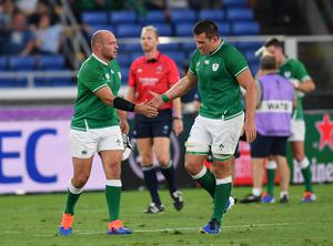 CJ Stander, right, with Ireland captain Rory Best, left, at the World Cup (Ashley Western/PA)