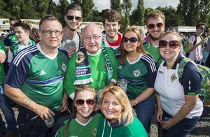 Northern Ireland football fans out at Boucher Playing Fields to support their team in their last 16 game against Wales in France at the Euros 2016 Championship. Saturday June 25. Photo by Liam McBurneyRAZORPIX
