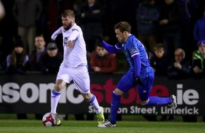 Paddy McCourt in action in his final game.