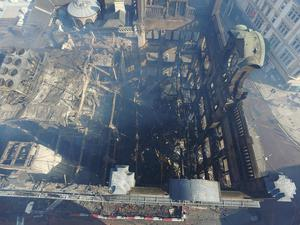 Aerial view over Bank Buildings following Tuesdays fire. Photo by Gregory Weeks.
