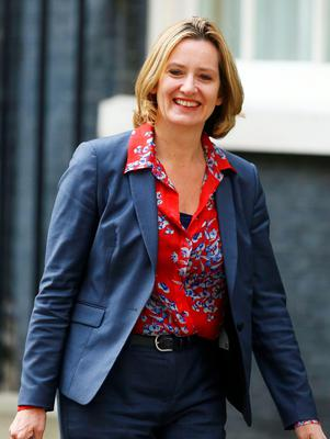 Amber Rudd, leaves 10 Downing Street, central London, after being appointed as Home Secretary following a Cabinet reshuffle by new Prime Minister Theresa May. PRESS ASSOCIATION Photo. Issue date: Wednesday July 13, 2016. See PA story POLITICS Conservatives. Photo credit should read: Gareth Fuller/PA Wire