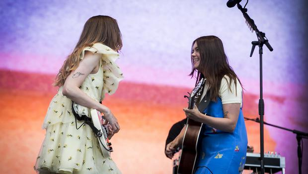 McBurney/BBC Biggest Weekend Belfast  Pictured Swedish folk duo, sisters Klara (R) and Johanna Söderberg, of First Aid Kit performing at the BBC Biggest Weekend on Titanic Slipway.  Date: Saturday 26th April 2018 Location: Titanic Slipway, Belfast Credit: Liam McBurney/RAZORPIX Copyright: Liam McBurney/RAZORPIX  Liam McBurney +44 7837 685767 +44 2890 660676 liammcburney@gmail.com