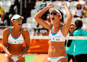 RIO DE JANEIRO, BRAZIL - AUGUST 09:  Viktoria Orsi Toth (R) and Viktoria Orsi Toth of Italy celebrate during the Women's Beach Volleyball Preliminary Pool A match against Nada Meawad and Doaa Elghobashy of Egypt on Day 4 of the Rio 2016 Olympic Games at the Beach Volleyball Arena on August 9, 2016 in Rio de Janeiro, Brazil.  (Photo by Ezra Shaw/Getty Images)