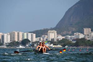 RIO DE JANEIRO, BRAZIL - AUGUST 09:  Moritz Moos and Jason Osborne of Germany compete during the Lightweight Men's Double Sculls Repechage on Day 4 of the Rio 2016 Olympic Games at the Lagoa Stadium on August 9, 2016 in Rio de Janeiro, Brazil.  (Photo by Shaun Botterill/Getty Images)
