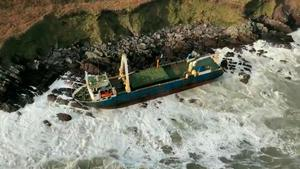 Undated Irish Coast Guard handout image of the abandoned cargo ship the MV Alta, that washed up on the coast of Co Cork during Storm Dennis over the weekend. Photo credit: Irish Coast Guard/PA Wire