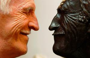 Sir Bruce Forsyth with the bust of himself which was created by Forsyth's son-in-law Dominic Grant. Yui Mok/PA Wire