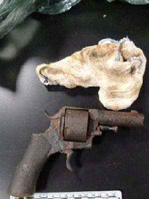 A handgun seized by police during searches in Lurgan. Credit: PSNI