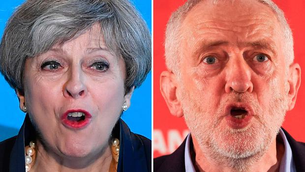 (FILES) A combination of pictures created in London on May 31, 2017 Britain's Prime Minister Theresa May (L) speaking during an event to launch the Conservative Party general election manifesto in Halifax in northern England on May 18, 2017 and Britain's main opposition Labour Party Jeremy Corbyn (R) delivering a general election campaign speech on leadership in London on April 29, 2017.  Britain goes to the polls to vote in a general election on June 8. / AFP PHOTO / Ben STANSALL AND Niklas HALLE'NBEN STANSALL,NIKLAS HALLE'N/AFP/Getty Images