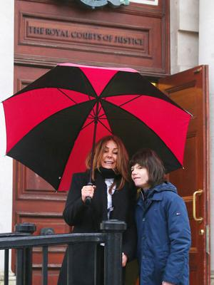 Press Eye - Belfast - Northern Ireland - 14th February 2020  Charlotte Caldwell pictured with her son Billy at the High Court in Belfast where they are continuing their legal case to secure medicinal cannabis for his epilepsy.  See copy by Alan Erwin.  Picture by Jonathan Porter/PressEye