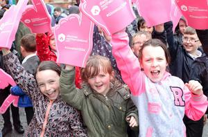 Pupils from Scoil an Droichid and Harding Memorial Primary School who have been taking part in Sustrans' Active Schools Travel Programme get ready for the Giro d'Italia
