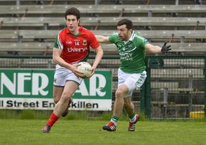 """Russell Pritchard  4th May 2013 """"Together For Sam"""" Fundraising G.A.A. Match between Fermanagh and Mayo at Brewster Park, Enniskillen Mayos Alan Freeman and Fermanaghs Shay Cullen in action at Saturday Nights Game."""