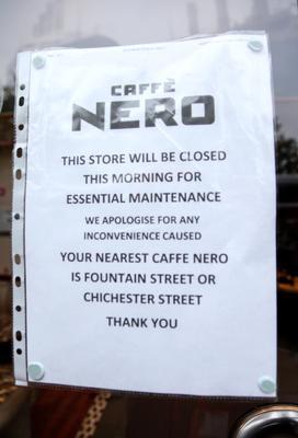 Picture -  Kevin Scott / Belfast Telegraph  Belfast - Northern Ireland - Wednesday 5th August 2015 - Caffe Nero  Pictured is the scene at Caffe Nero on the morning that the Belfast Telegraph released an exclusive video showing rats in the shop  Picture - Kevin Scott / Belfast Telegraph