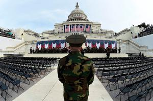 The United States Marine Corps Band practices in front of the podium where US President-elect Donald Trump will take the oath of office and be sworn in as the 45th US president in  Washington, DC on January 19, 2017. Twenty-four hours before he takes the oath of office as the 45th US president, Trump arrived in Washington on Thursday, determined to transform American politics over the next four years. / AFP PHOTO / TIMOTHY A. CLARYTIMOTHY A. CLARY/AFP/Getty Images