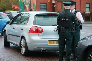 The scene in the Newlodge road area of North Belfast where a firearm is believed to have been found in the boot of a car stopped by police on April 16th 2017 (Photo - Kevin Scott / Belfast Telegraph)