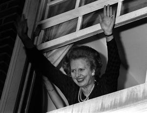 File photo dated 10/06/1983 of Prime Minister Margaret Thatcher waving to well-wishers after her election win. Baroness Thatcher died this morning following a stroke, her spokesman Lord Bell said. PRESS ASSOCIATION Photo. Issue date: Monday April 8, 2013. See PA story DEATH Thatcher. Photo credit should read: PA/PA Wire