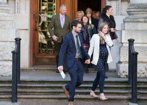 Daniel McArthur of Ashers and his wife Amy pictured leaving the High Court in Belfast after the judgement was given.  Picture by Jonathan Porter/Press Eye