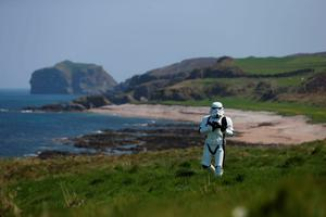 JJ McGettigan from the Emerald Garrison, a star Wars costuming club, in Malin Head, Co Donegal Ireland, as filming for the next Star Wars movie will take place there. PA