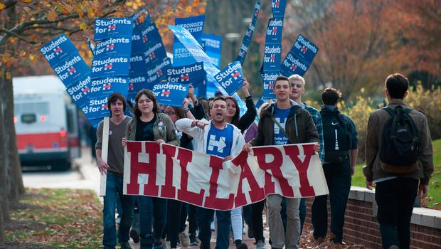 A group of Penn State students march through campus imploring voters to cast their ballots for Hillary Clinton in the presidential election on November 8, 2016 in State College, Pennsylvania. (Photo by Jeff Swensen/Getty Images)
