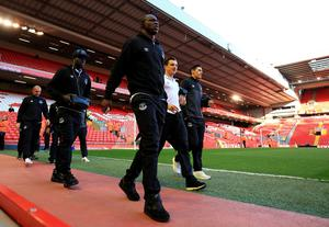 Everton's Arouna Kone arrives for the Barclays Premier League match at Anfield, Liverpool. PA